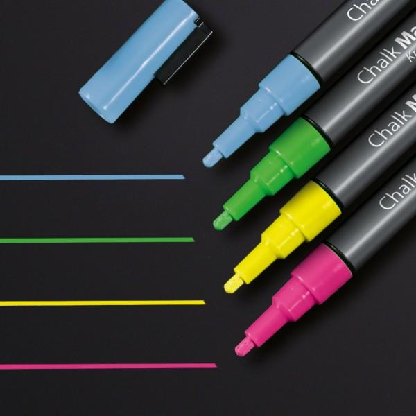 Sigel Kreidemarker 20 Rundspitze 1-2 mm, pink, gelb, grün, blau, GL179