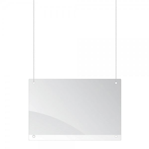 Abhängbare Schutzscheibe, glasklares Acryl 3 mm, horizontale Aufhängung