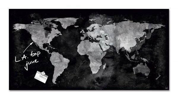 Sigel Glas-Magnetboard artverum World-Map, 91 x 46 cm, GL270