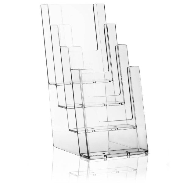 Taymar Tisch-Prospekthalter 4C110, 4 Fächer DIN lang Hochformat