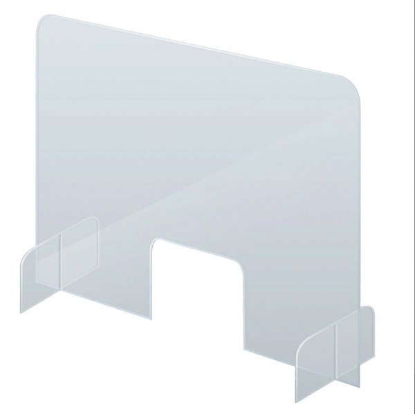 Schutzschild-Thekenaufsteller, Acryl 5 mm, 84,5 x 64 cm