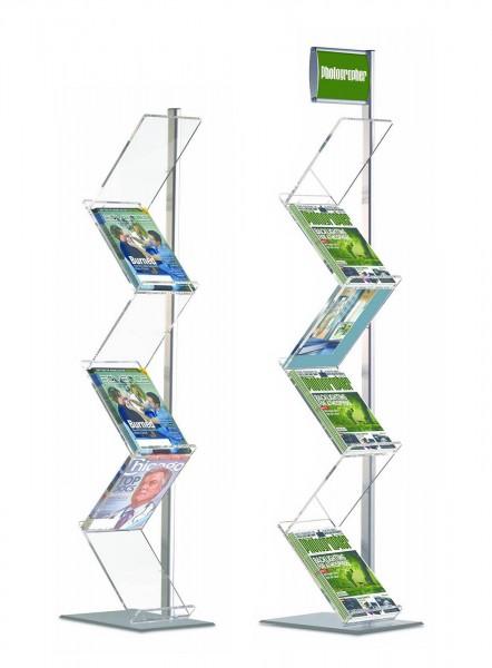 Prospektständer ZickZack Lite einbeinig, 6 Acrylablagen für DIN A4
