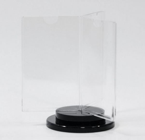 Drehbarer Tischaufsteller INSPIN, 3-fach DINA7