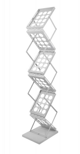 """Faltbarer Prospektständer """"Zed-Up"""" mit 6 Ablageflächen DIN A4 aus Metall"""