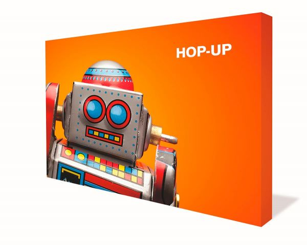 "Displaywand ""Hop-Up gerade"" mit Textilgrafik"