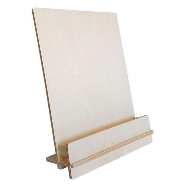 """Zerlegbarer Tischprospekthalter """"WUDI"""" aus Birkenholz für DIN A4 oder 2x DIN lang"""