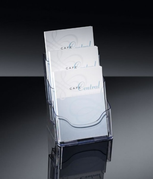 Sigel® Tisch-Prospekthalter acrylic mit3Fächern DINA5, LH132