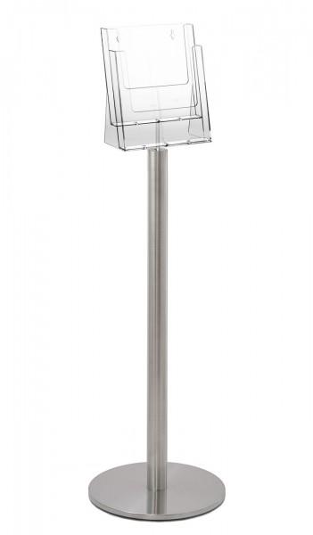 """Prospektständersystem """"Q"""", Edelstahlständer mit Prospekthalter für 2x DIN A4"""