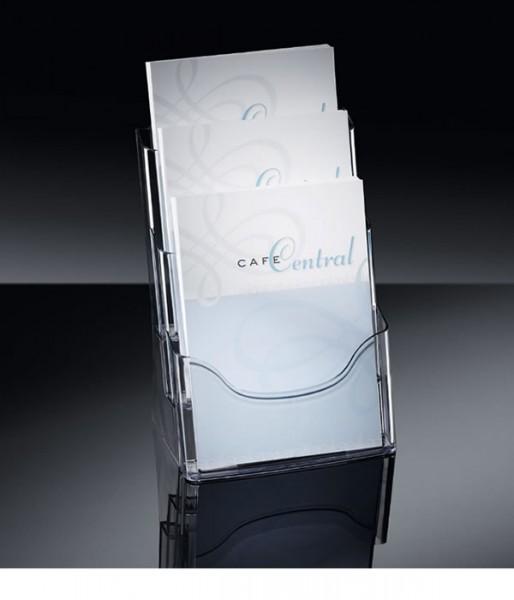 Sigel® Tisch-Prospekthalter acrylic mit3Fächern DINA4, LH130