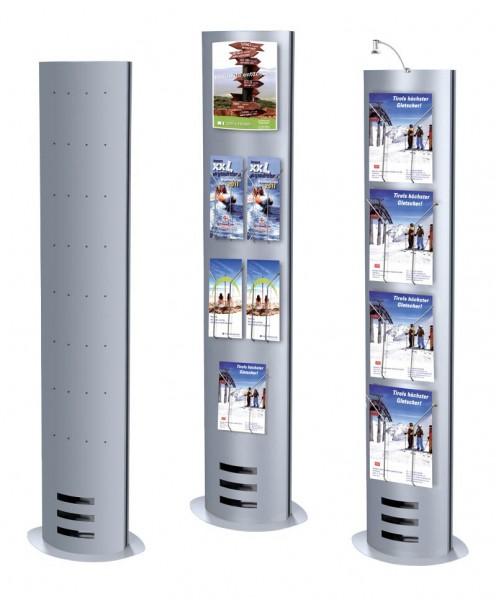 """Prospektständer """"Skyline Ellipse"""" für mehrere Ablagefächer, Stahl alu-silber"""