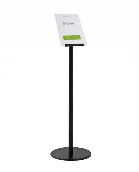 """Infoständer-System """"Q"""", Edelstahlständer schwarz mit Plakattasche für DIN A4 schräg"""