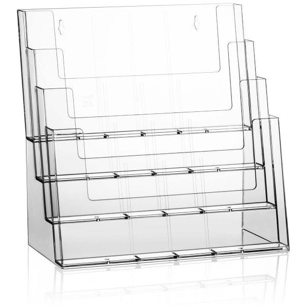 Taymar Tisch-Prospekthalter 4C330, 4 Fächer DIN A4 Querformat, ohne Fachtrenner