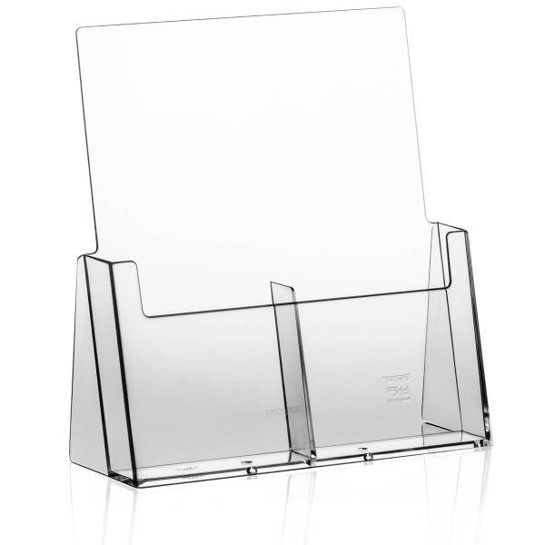 Taymar Tisch-Prospekthalter 2C112, 2 Fächer DIN lang Hochformat nebeneinander
