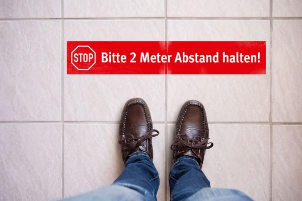 """Fußbodenaufkleber """"Bitte 2 Meter Abstand halten!"""""""