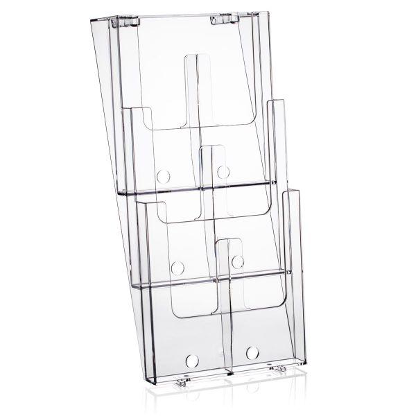 Taymar Wand-Prospekthalter 3W230-DL, 3 Fächer DIN A4 oder 6 Fächer DIN lang, mit Fachtrennern