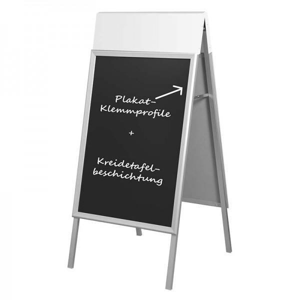 Kundenstopper Alu Outdoor Pro DIN A1 mit Top-Schild und Kreidetafel