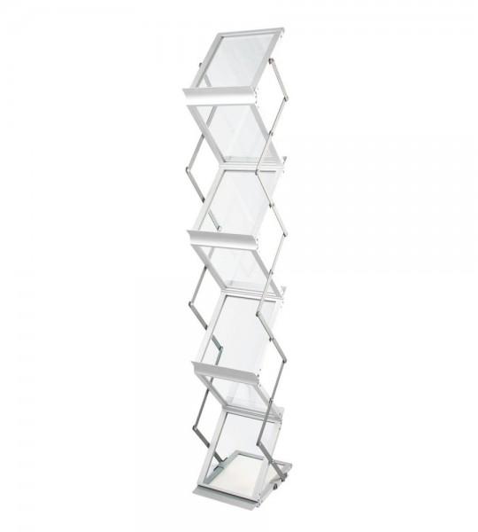 """Prospektständer """"Zed-Up Lite"""" für 7x DIN A5, faltbar im Koffer, Aluminium, Acrylglas"""