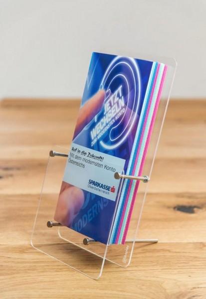 Tisch-Prospekthalter Tokio DIN lang / DIN A6 Glasklares Acrylglas