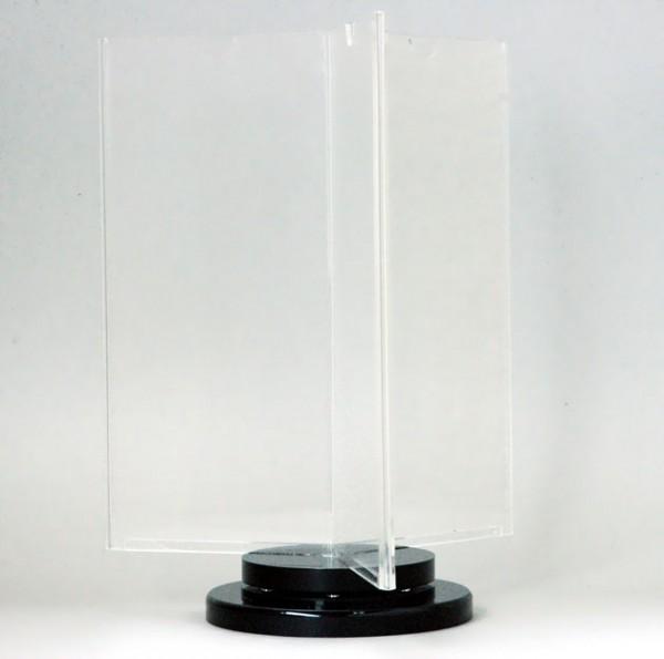 Drehbarer Tischaufsteller INSPIN, 3-fach DINlang