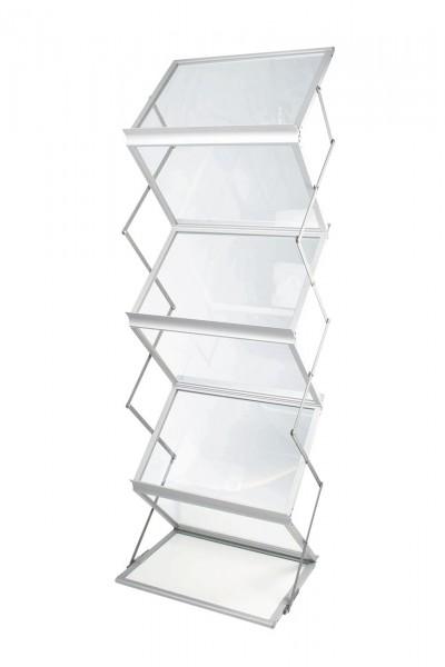 Prospektständer Zed-Up Lite, 6x DIN A3 quer, Aluminium silber eloxiert