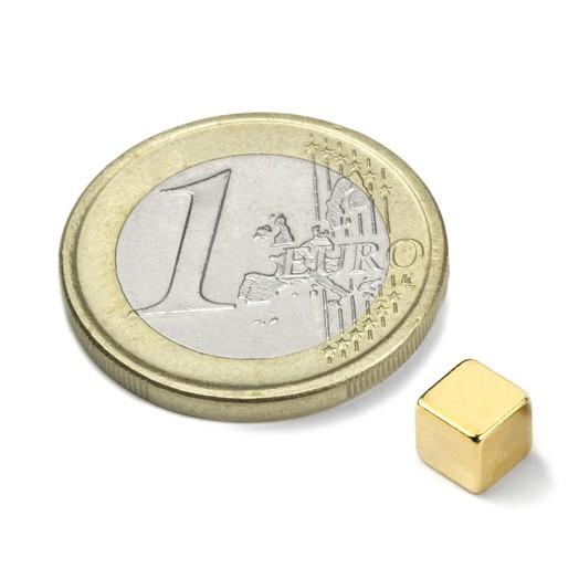 Neodym-Würfelmagnet, 5 mm, N42, vergoldet, Haftkraft ca. 1,1 kg, 10 Stück