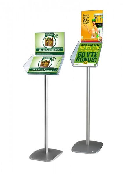 Dekorativer Prospektständer Plus mit Prospektfach für DIN A4, mit Zusatzschild