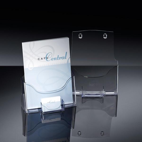 Sigel® Tisch-Prospekthalter acrylic mit 1 Fach DIN A4 + Visitenkartenfach, LH111