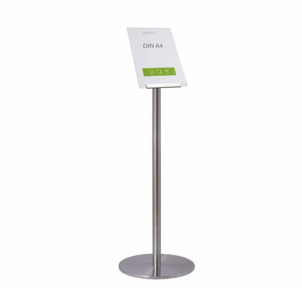 """Infoständer-System """"Q"""", Edelstahlständer mit Plakattasche für DIN A4 schräg"""