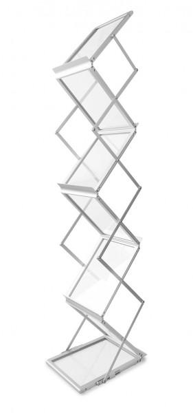 """Prospektständer """"Zed-Up Lite"""" für 6xDINA4, faltbar im Koffer, Aluminium/Acrylglas"""