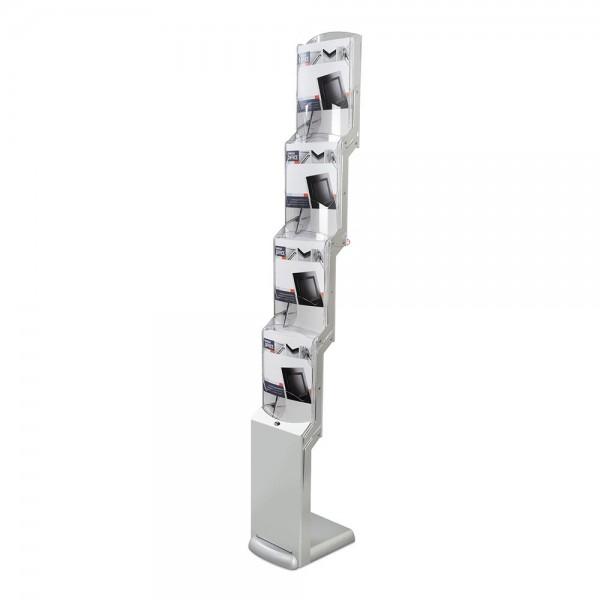Faltbarer Prospektständer »realzip silver 4« mit 4 Fächern DIN A4
