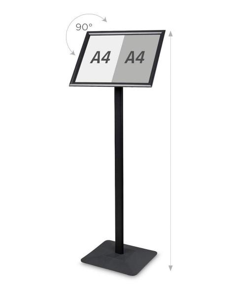 Infoständer »Menü Board Premium«, DIN A3 Querformat drehbar, Aluminium schwarz, Bemaßung