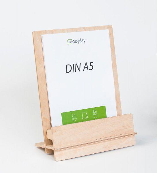 Zerlegbarer Tischprospekthalter »WUDI« aus Birkenholz für DIN A5
