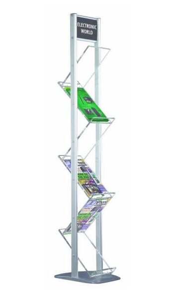 Prospektständer ZickZack Lite zweibeinig, 6 Acrylablagen für DIN A4