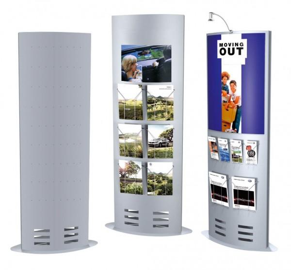 """Prospektständer """"Skyline Ellipse XL"""" für mehrere Ablagefächer, Stahl alu-silber"""
