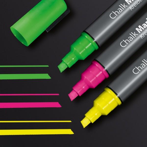 Sigel Kreidemarker 50 Keilspitze 1-5 mm, pink, grün, gelb, GL182