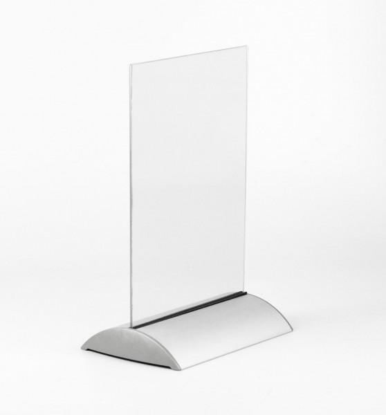Tischaufsteller BOW-A4, Aluminium silber/PVC für DIN A4