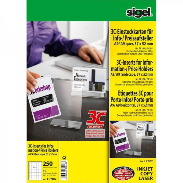 PC-Einsteckkarten für Info- und Preisaufsteller, LP902
