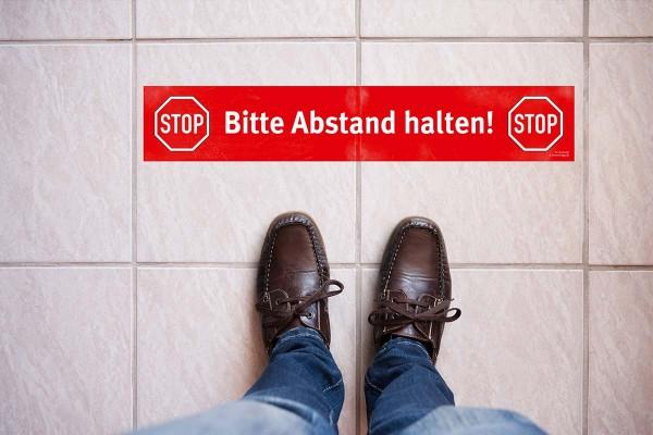 """Fußbodenaufkleber """"Bitte Abstand halten!"""""""