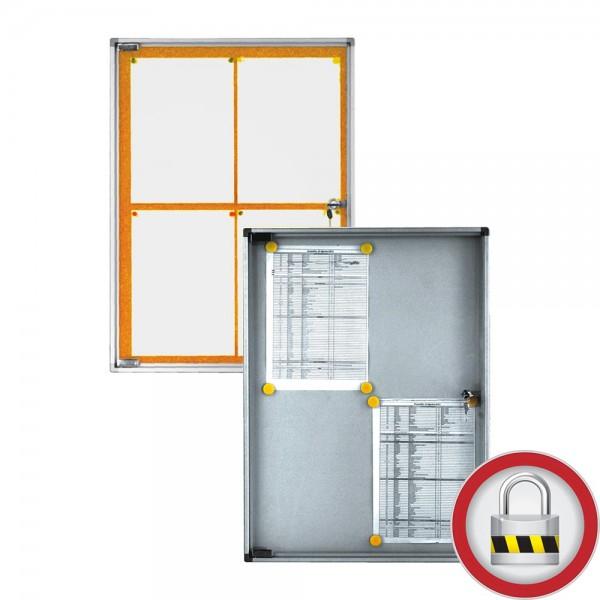 Schmaler Schaukasten, Aluminium, Kunststofftür, magnetisch oder Kork