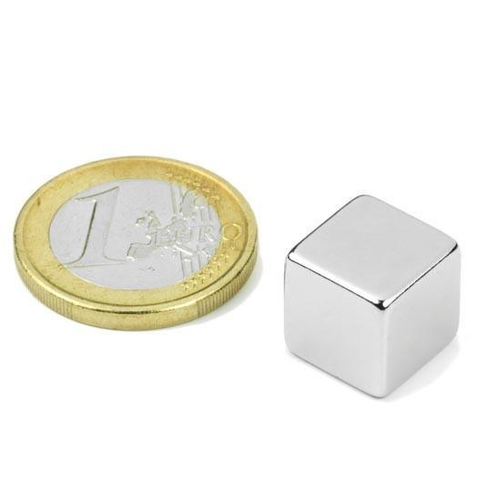 Neodym-Würfelmagnet, 12 mm, N48, vernickelt, Haftkraft ca. 6,3 kg