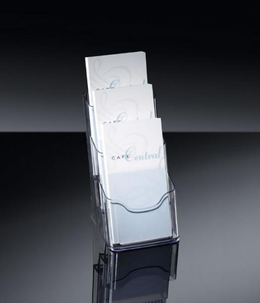 Sigel® Tisch-Prospekthalter acrylic mit3Fächern DINlang, LH133