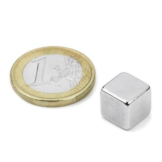 Neodym-Würfelmagnet, 10 mm, N42, vernickelt, Haftkraft ca. 3,8 kg
